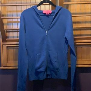 Juicy Couture 100% cashmere zip up navy sweater